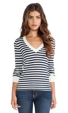 Cashmere Blend V Neck Striped Sweater