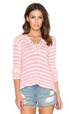 Splendid Ohana Stripe Hoodie in Neon Pink
