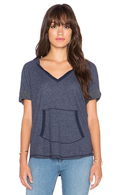 Splendid Heathered Thermal Short Sleeve Hoodie in Navy