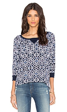 Splendid Ikat Print Sweatshirt in Navy Multi