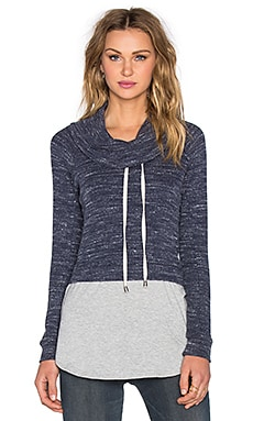 Splendid Brushed Triblend Poorboy Funnel Neck Sweatshirt in Navy