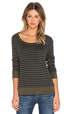 Splendid 1x1 Venice Stripe Sweatshirt in Olivine