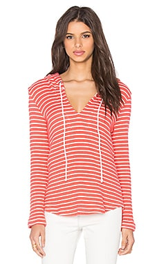 Splendid Meridien Stripe Loose Knit Hoodie in Poppy & White