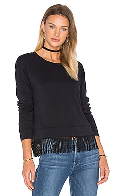 French Terry Fringe Pullover in Black