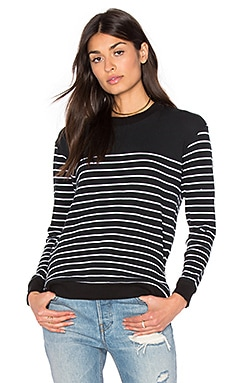 Splendid Adelaide French Terry Side Zippers Pullover in Black & White