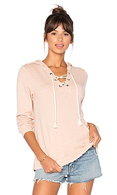 Active Lace Up Hoodie in Pink Beige