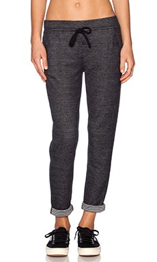 Splendid Reversible Mini Stripe Active Sweatpant in Black