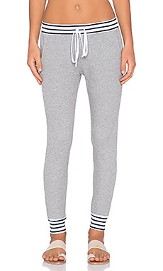Splendid Thermal Mixed Venice Stripe Pant in Heather Grey & Navy & White