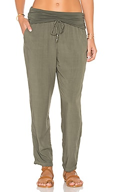 Splendid Fold Over Pant in Military Olive