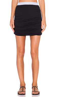 Splendid Rib Mix Mini Skirt in Black