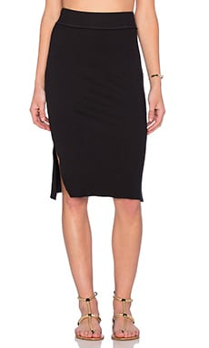 Splendid 2 X 1 Midi Skirt in Black