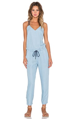 Splendid Colorclock Multi Strap Jumpsuit in Light Wash & Navy
