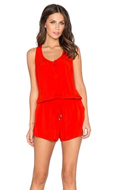 Splendid Twist Back Drawstring Romper in Poppy Red