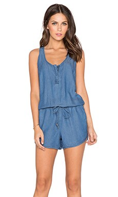 Splendid Twist Back Drawstring Romper in Medium Wash
