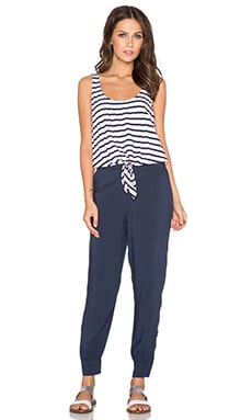 Splendid Striped Tie Front Jumpsuit in Navy