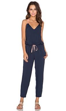 Splendid Colorclock Multi Strap Jumpsuit in Navy & Sunrise
