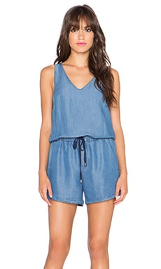 Splendid Drawstring Romper in Medium Wash