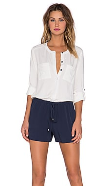 Splendid Double Pocket Romper in Pearl & Navy