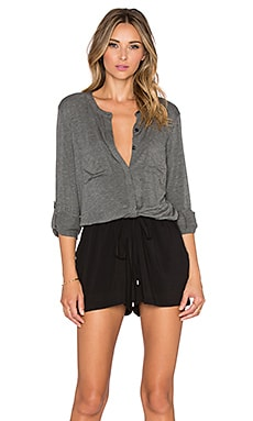 Splendid Double Pocket Romper in Dark Heather Grey & Black