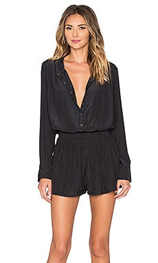 Splendid Long Sleeve Romper in Black