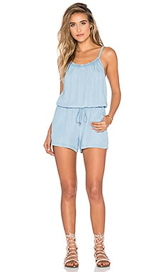 Chambray Romper in Light Wash
