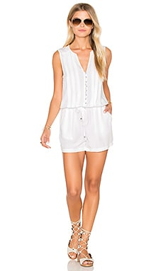 Splendid Sleeveless Tied Waist Romper in White