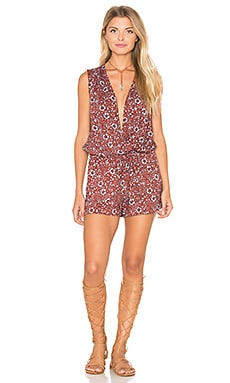 Friesian Floral Print Romper in Brick Red