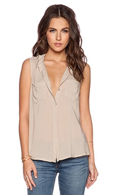Splendid Rayon Voile Button Up Tank in Barley