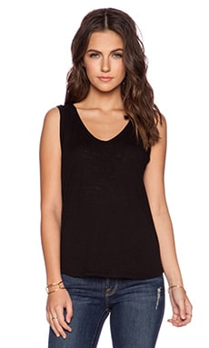Splendid Slub Tees Drape Back Tank in Black