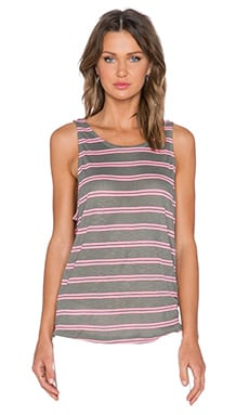 Splendid Cayman Stripe Tank in Dusty Olive & Neon Pink