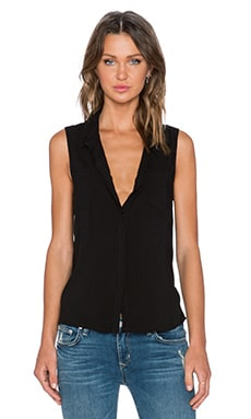 Splendid Rayon Voile Button Up Tank in Black