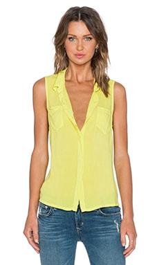 Splendid Rayon Voile Button Up Tank in Tennis