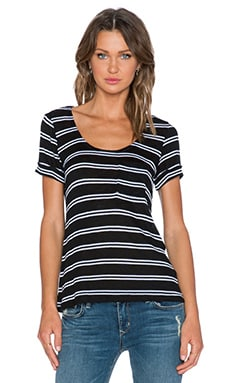 Splendid Cayman Stripe Pocket Tee in Black & White