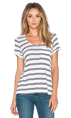 Splendid Cayman Stripe Pocket Tee in White & Black