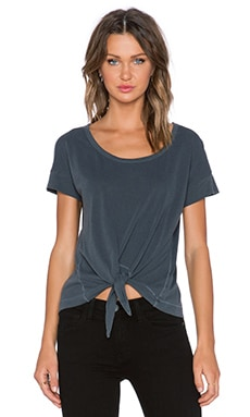 Splendid Vintage Whisper Tie Front Tee in Lead