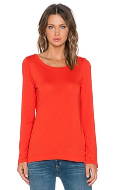 Splendid Light Jersey Long Sleeve Tee in Poppy Red