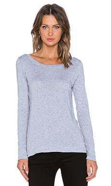 Splendid Light Jersey Long Sleeve Tee in Heather Grey