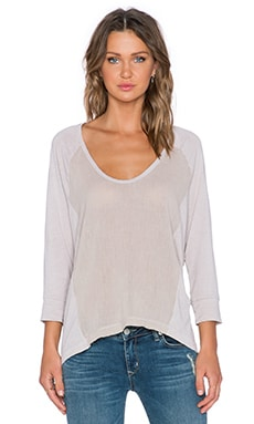 Splendid Cotton Gauze Long Sleeve Top in Barley