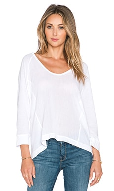 Splendid Cotton Gauze Long Sleeve Top in White