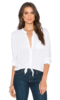 Splendid Rayon Voile Long Sleeve Top in White