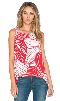 Splendid Floral Plaid Mix Drape Tank in Bonfire
