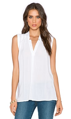 Splendid Rayon Voile V Neck Top in White