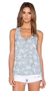 Splendid Pinstripe Palm Tree Tank in Light Wash