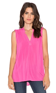 Splendid Rayon Voile V Neck Top in Bloom
