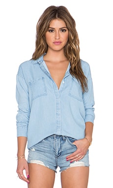 Splendid Rayon Voile Button Up Top in Light Wash
