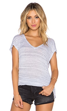 Splendid Space Dye Luxe Jersey Y Back Tee in Heather Grey