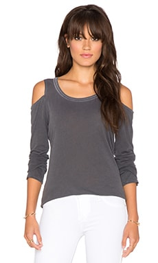 Splendid Vintage Whisper Long Sleeve Cold Shoulder Tee in Lead