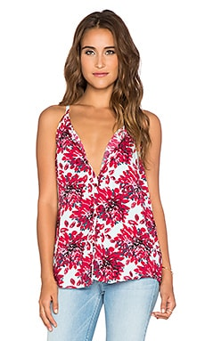 Splendid Mediterranean Blossom Button Up Tank in Garnet