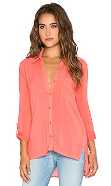 Splendid Rayon Voile Shirting Button Up in Blaze