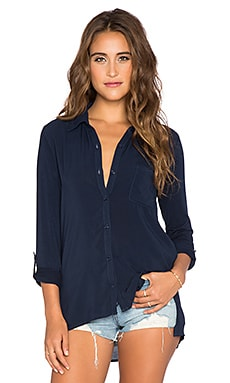 Splendid Rayon Voile Shirting Button Up in Navy